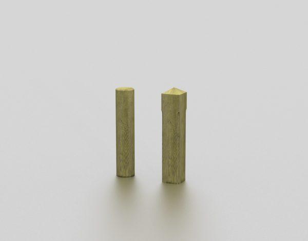 Borne en bois proposée par le groupe Ingénia expert du mobilier urbain