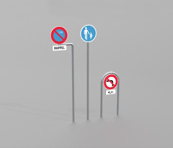 Poteau de signalisation proposé par le groupe Ingénia expert du mobilier urbain